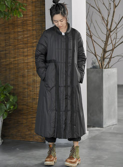 Plus Size Mock Neck Straight Down Coat