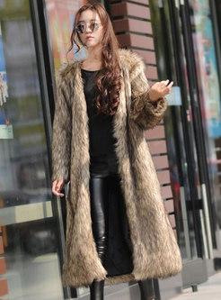 V-neck Plus Size Straight Faux Fur Coat