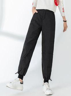 High Waisted Black Harem Down Pants