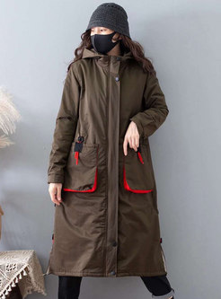 Hooded Color-blocked Straight Long Coat