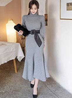 Turtleneck Long Knitted Peplum Dress Without Belt