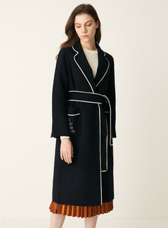 Lapel Letter Embroidered Long Overcoat
