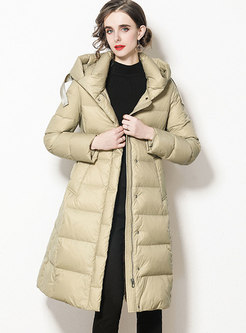 Hooded Knee-length Belted A Line Puffer Coat