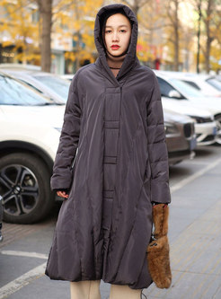 Plus Size Hooded Long Straight Down Coat