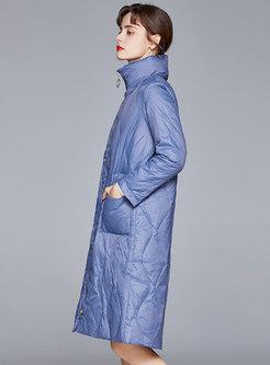 Mock Neck Knee-length Straight Down Coat
