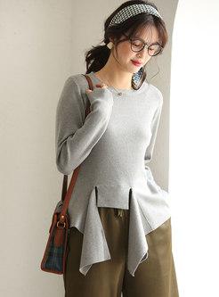 Crew Neck Pullover Asymmetric Sweater
