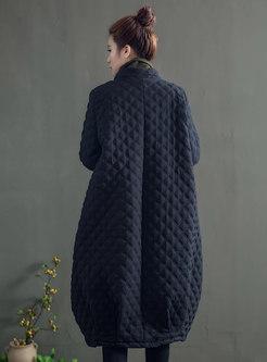 Mandarin Collar Diamond Straight Long Coat