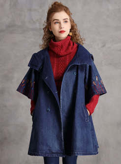 Hooded Half Sleeve Embroidered Denim Trench Coat