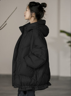 Hooded Long Sleeve Straight Down Coat