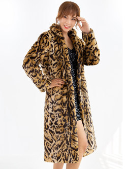 Mock Neck Leopard Straight Faux Fur Coat