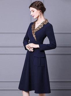 Work Leopard Print Midi Blazer Dress