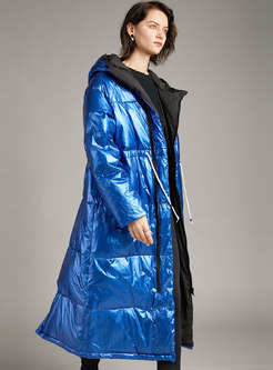Removable Hooded Drawstring Long Puffer Coat