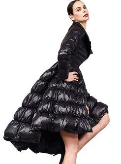 Black Lapel A Line Big Hem Puffer Coat