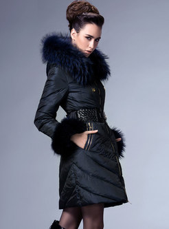 Hooded Mid-length Belted Puffer Coat