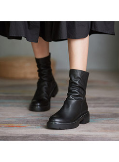 Rounded Toe Ruched Platform Short Boots