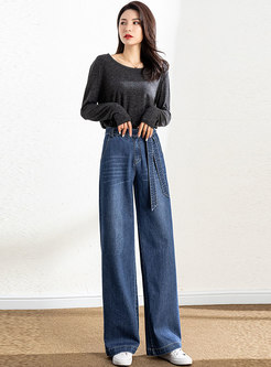 High Waisted Long Denim Wide Leg Pants