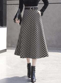 High Waisted Houndstooth Maxi Skirt With Belt