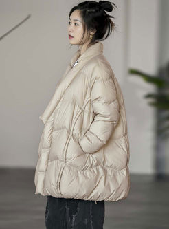 Mock Neck Single-breasted Loose Down Coat