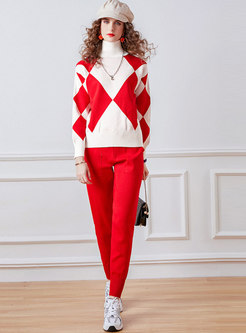 Turtleneck Geometric Print Knitted Pant Suits