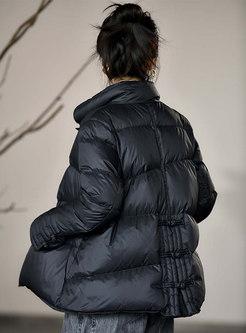 Mock Neck Flare Sleeve Short Puffer Coat