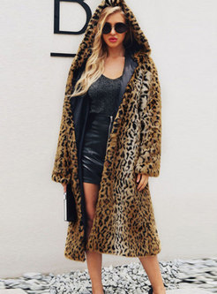 Hooded Leopard Straight Faux Fur Coat