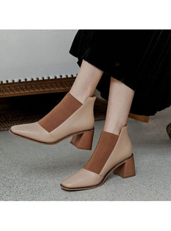 Square Toe Patchwork Chunky Heel Ankle Boots