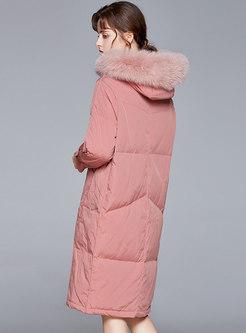 Hooded Straight Knee-length Puffer Coat