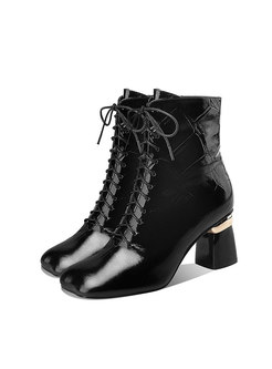 Square Toe Chunky Heel Ankle Boots