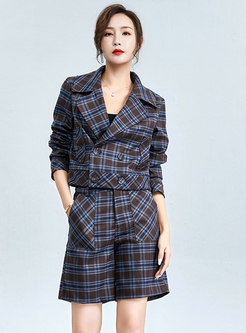 Notched Plaid Double-breasted Short Pant Suits