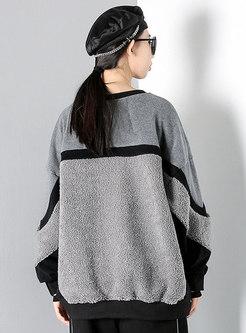 Plus Size Color-blocked Patchwork Sweatshirt