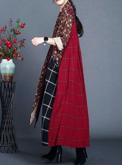Plaid Floral Patchwork Asymmetric Maxi Dress