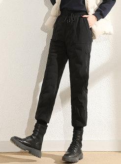 High Waisted Black Straight Down Pants