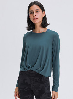 Crew Neck Pullover Ruched Sport Top