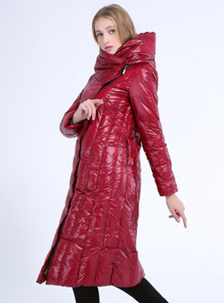 Solid Hooded Knee-length Straight Puffer Coat