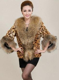 V-neck Leopard Short Faux Fur Coat