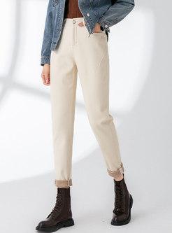 High Waisted Short Plush Denim Harem Pants