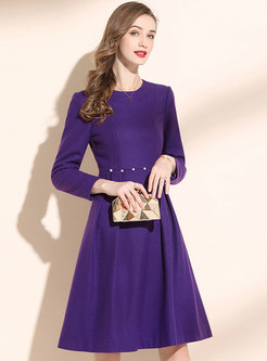Long Sleeve High Waisted A Line Dress
