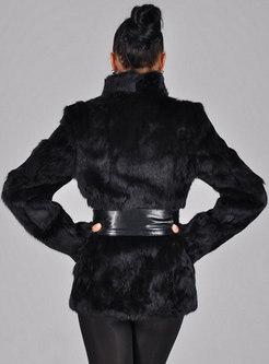 Mock Neck Short Plus Size Faux Fur Coat