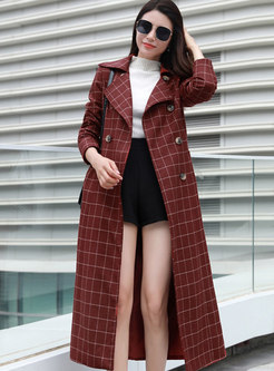 Plaid A Line Double-breasted Trench Coat