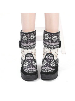 Rounded Toe Print Non-slip Short Boots