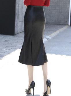 High Waisted PU Sheath Peplum Skirt