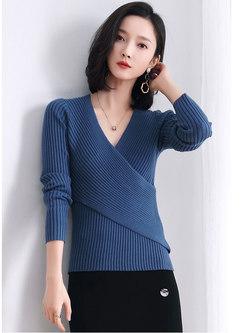 Cross V-neck Pullover Solid Slim Sweater