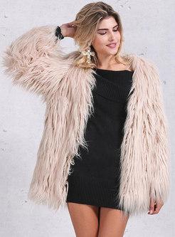 V-neck Straight Mid-length Faux Fur Coat