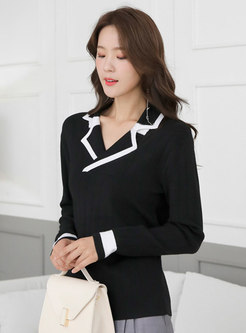 Notched Collar Long Sleeve Pullover Sweater