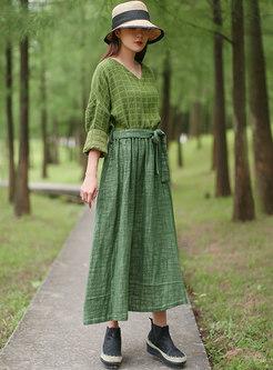 V-neck Plaid Patchwork Color-blocked Dress