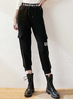 High Waisted Letter Print Cropped Pants