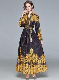 V-neck Floral A Line Big Hem Maxi Dress