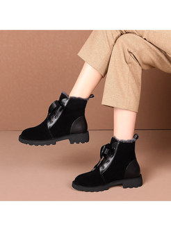 Rounded Toe Short Plush Ankle Boots