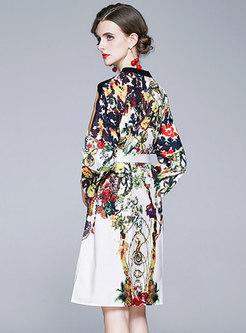 V-neck Floral Knee-length Skater Dress
