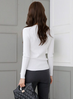 Solid Pullover Slim Ribbed Sweater